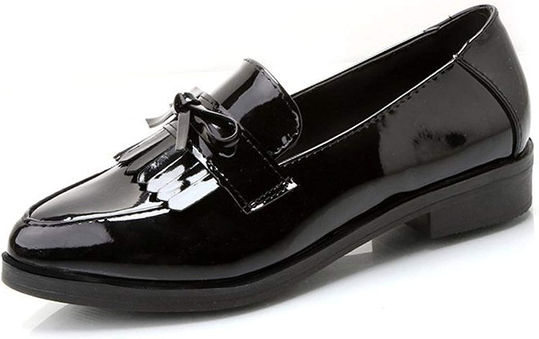 Women Low Heels Bowtie Platform shoes Fringe Chunky Heel Flat shoes Footwear Oxford shoes