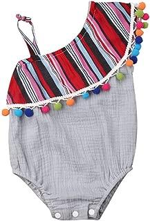 Vghi children clothes Toddler Baby Girls Sleeveless One-Pieces Tassel Bodysuit Playsuit One Shoulder Cotton Cute