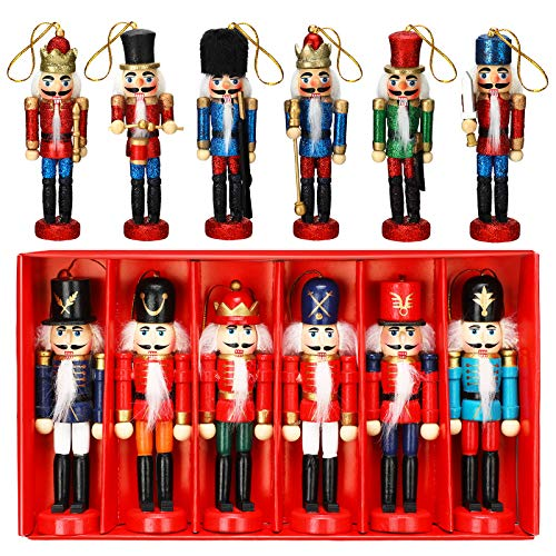 WILLBOND 12 Pieces Christmas Nutcrackers Ornaments Set Glittery and Wooden Nutcracker Figures Decoration with Opening Mouths for Xmas Tree, Table Decor