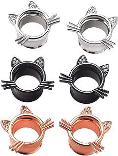 2Pcs Cute Kitten Ear Plugs Tunnels Gauges Stretcher Piercings in 3 Colors Gauge 2g-1