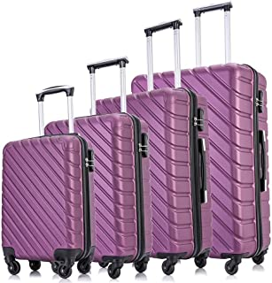 Apelila Hardshell Luggage ABS Luggages Sets With Spinner Wheels Hard Shell Spinner Carry On Suitcase (Purple, 4 PCS)