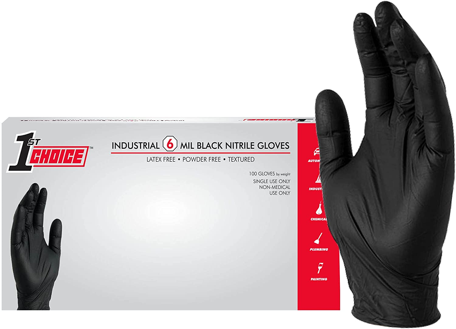 1st Choice Black Nitrile Industrial Disposable Gloves, 6 Mil, Latex & Powder-Free, Food-Safe, Textured : Health & Household