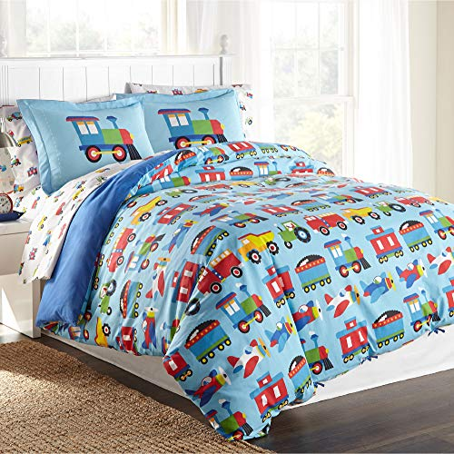 Wildkin Kids 100% Cotton Full Duvet Covers for Boys and Girls, Kids Duvet Cover Measures 88 x 88 Inches, Features Button Closure and Interior Corner Ties, BPA-free, Olive Kids(Trains, Planes & Trucks)