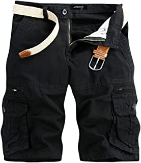 iLXHD Men's Work Pants Casual Pure Color Outdoors Pocket Beach Cargo Shorts Pant Board Shorts