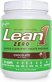 Nutrition 53 Lean 1 Zero - Super Clean Whey Isolate Protein Powder, Natural, Free of Sugar, Lactose, Fat, Gluten-Free, Chocolate - 1.69 lb