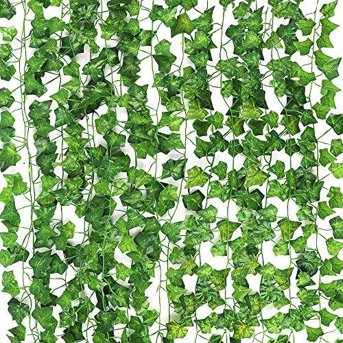 CDWERD 12 Stücke Künstliche Efeu Hängend Girlande Kunstpflanze Efeu Für Büro Hochzeitsfest Gartendekoration