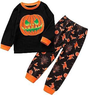 Toddler Baby Unisex Halloween Outfits 2PCS Sets Long Sleeve Round Collar Top Shirt Sweatshirt + Long Pants Pumpkin Lantern...