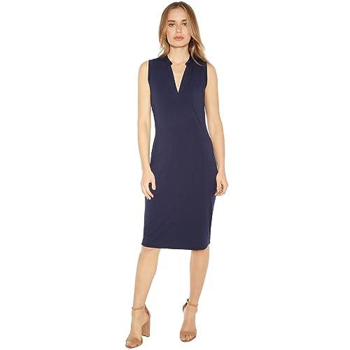 441c596942b75b Rohb by Joyce Azria Pacific Sleeveless Mandarin V-Neck Collared Dress