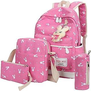 4 Sets Canvas Bag,Women Girl Rabbit Animals Travel Backpack School Bag+Crossbody Shoulder Bag+Handbag with Strip +Pencil Case (Hot Pink)