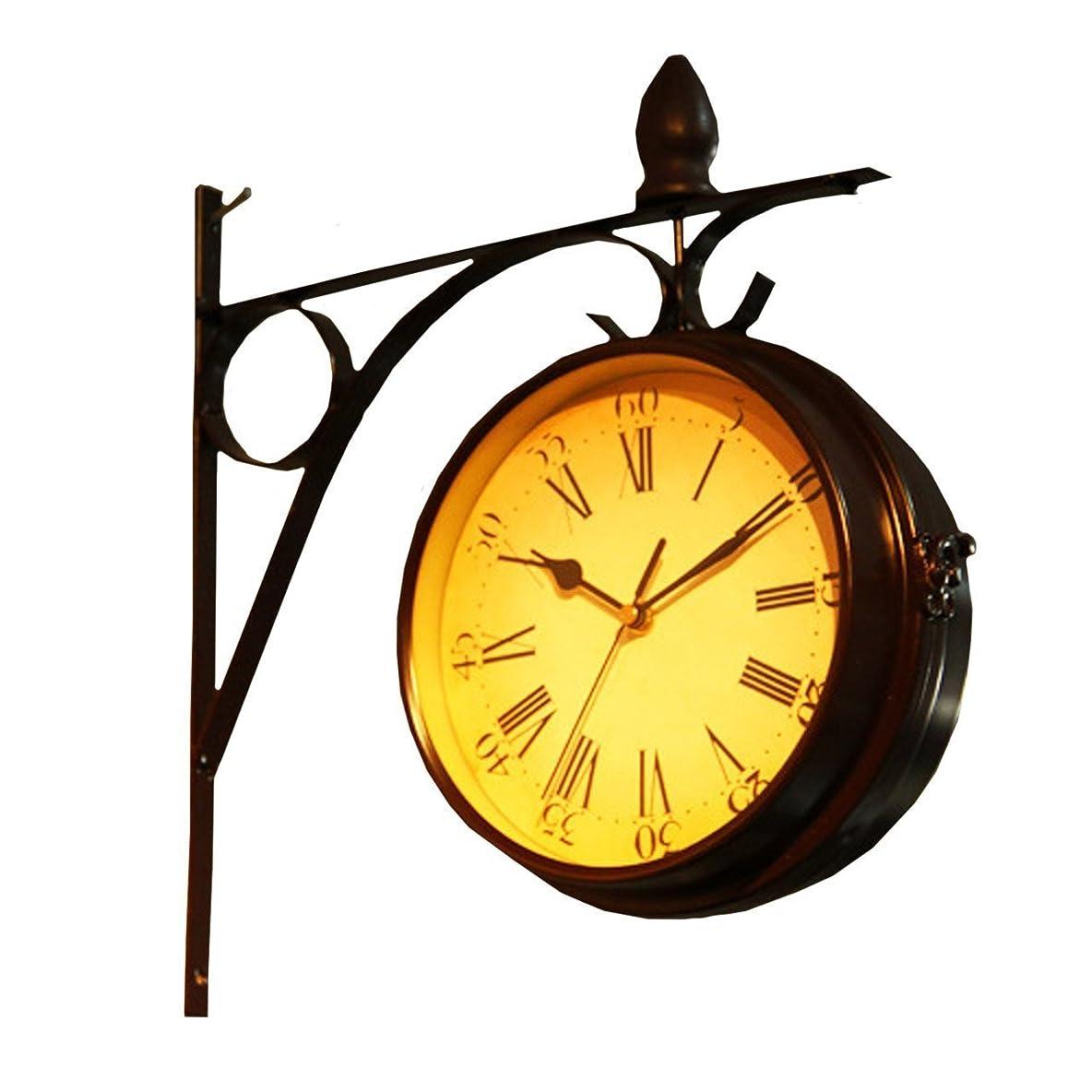 事前リダクター田舎Moana Mahana(モアナマハナ) 両面 掛け時計 壁掛け おしゃれ レトロ 北欧 ヨーロピアン 風 アンティーク クラシック インテリア 雑貨 壁掛け時計