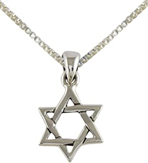 AJDesign 925 Sterling Silver Interlocking Star of David Pendant with Chain