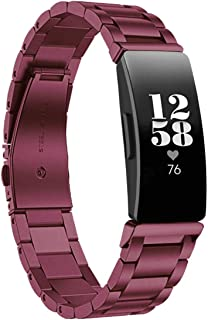 Aresh Compatible with Fitbit Inspire HR Bands, Stainless Steel Replacement Wristband for Fitbit Inspire/Fitbit Inspire HR Fitness Tracker (Sangria)