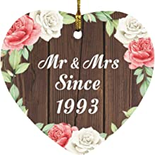 28th Anniversary Mr & Mrs Since 1993 - Heart Wood Ornament A Christmas Tree Hanging Decor - for Wife Husband Wo-Men Her Hi...
