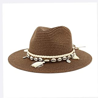 Fashion New Summer Women Men Straw Sun Hat Classic Lady Floppy Hat Wheat Straw Beach Hat Size 56-58CM WUXiaodanfhat (Color : Coffee, Size : 56-58CM)