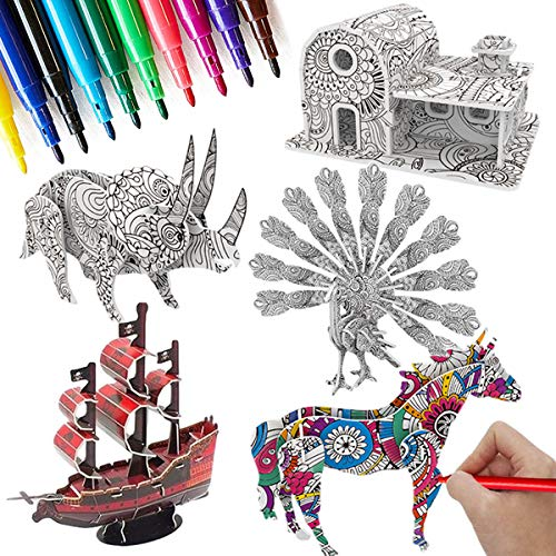 3D Coloring Puzzle Set,5 Pack Puzzles with 10 Pen Markers, Art Coloring Painting 3D Puzzle for Kids Age 7 8 9 10 11 12. Fun Creative DIY Gifts for Girls and Boy