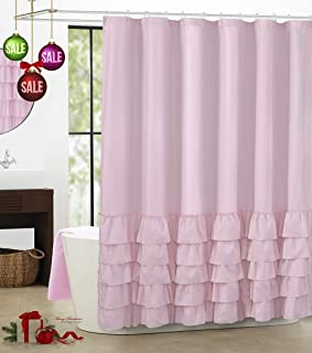 WestWeir Ruffle Shower Curtain Sets - Pink for Bathroom 72 inches Long
