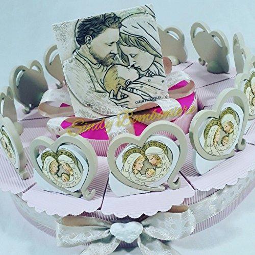 Bomboniere Nascita Battesimo Bambino Cuore Sacra Famiglia Ceramica Effetto pietra2 (Torta da 12 fette)