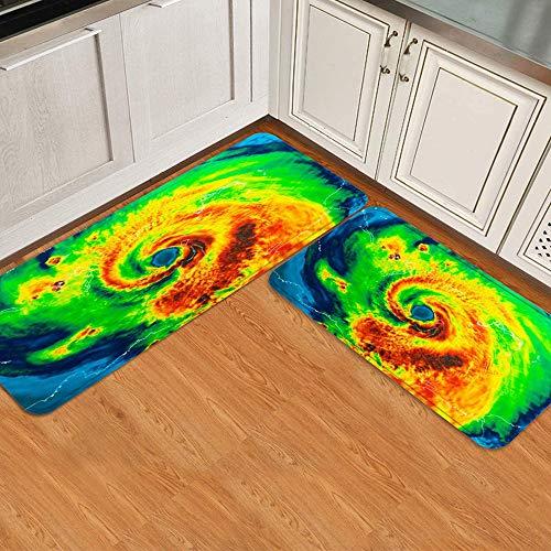 Juego de alfombrillas de cocina de 2 piezas,Daño Geocolor Ojo Huracán Golfo de Irma Clima, Alfombra antideslizante con respaldo para alfombra de cocina, lavable y duradera, alfombra de corredor
