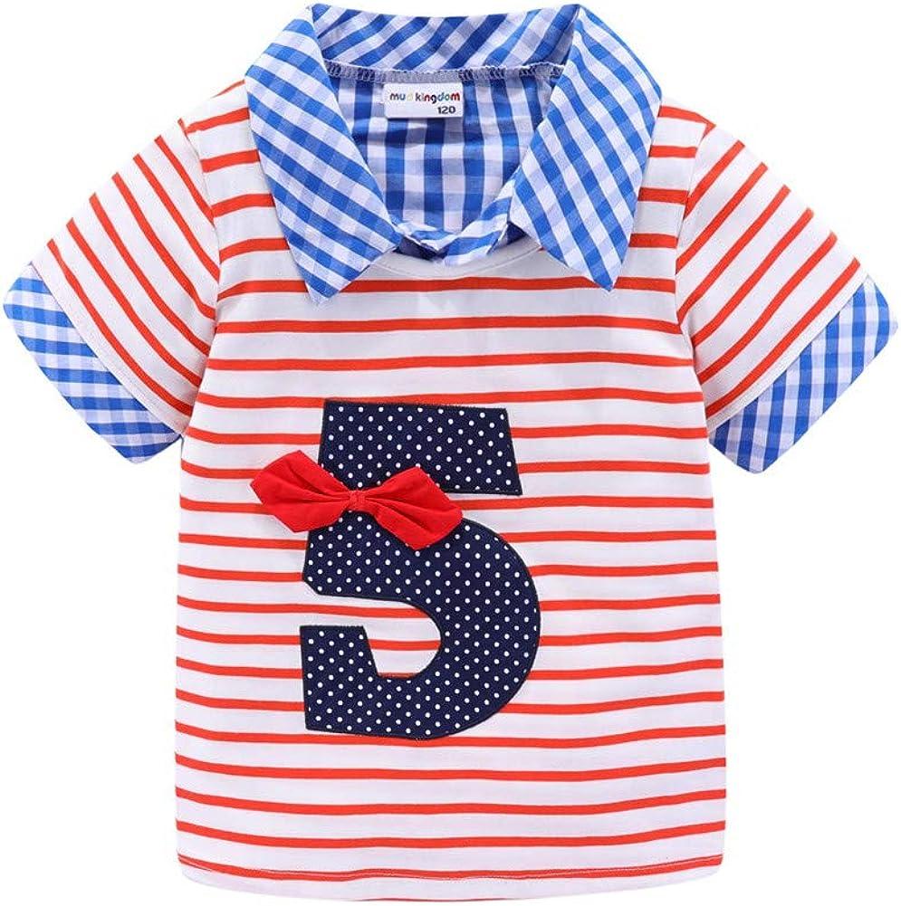 Mud Kingdom Little Boys Birthday Polo Shirt Short Sleeve Cute Stripe