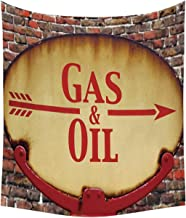 YOLIYANA Man Cave Decor Useful Tapestry,A Rusty Old Retro Arrow Sign with Text Gas and Oil Fuel Station for Indoor,60''W x 80''H