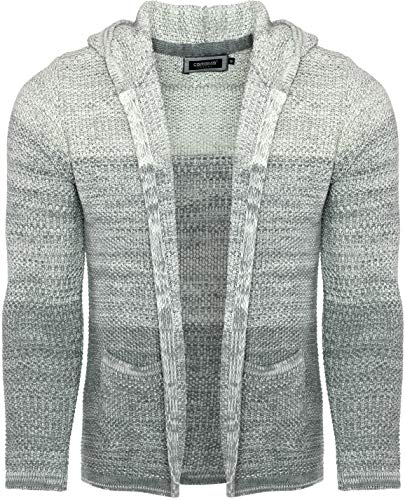 CARISMA Casual Herren Strickjacke mit Kapuze in Colour-Block, Grey, S