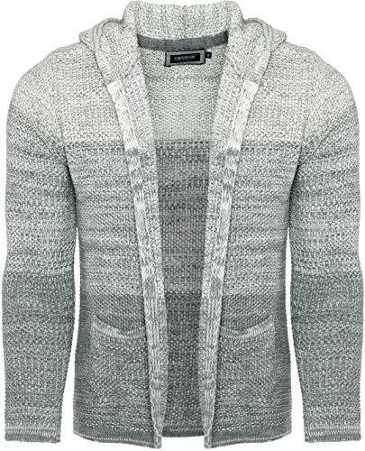 CARISMA Casual Herren Strickjacke mit Kapuze in Colour-Block, Grey, XL