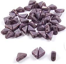 Czech Glass 2-Hole Triangle Beads-TANGO CHALK LUMI PURPLE PINK 6mm (50)