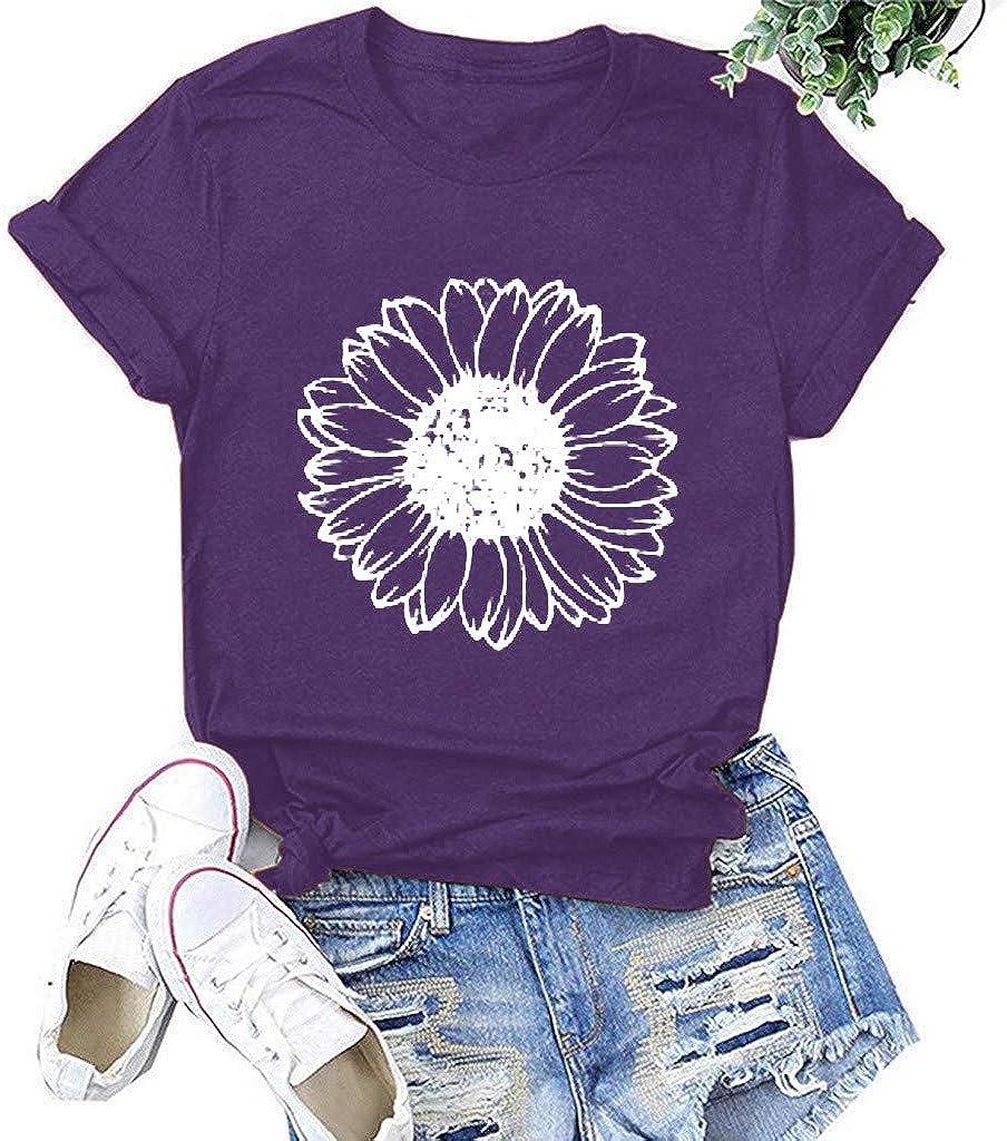 Women Short Sleeve Shirts,Sunflower Shirt for Women Cute Print T-Shirt Summer Short Sleeve Tees Tops