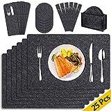 Gvoo Platzset 6 Tischset abwaschbar,6 Glasuntersetzer,6 Bestecktaschen dunkel grau anthrazit Filzmatte Platzdeckchen abwischbar