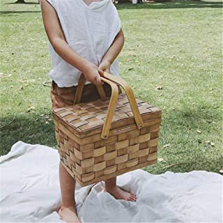 Leiyini Picnic Wooden Basket Portable Hand-Woven Basket Storage Box Basket Natural Eco Friendly Woven Woodchip Basket with Cover for Home Camping Picnic