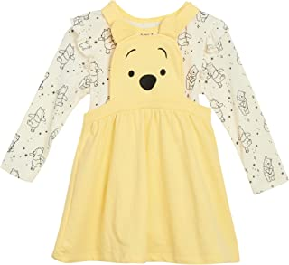 Disney Girl's Minnie Mouse Overall Dress- 2 Piece Jumper & Cotton Long Sleeve T-Shirt (Toddler/Little Girls)