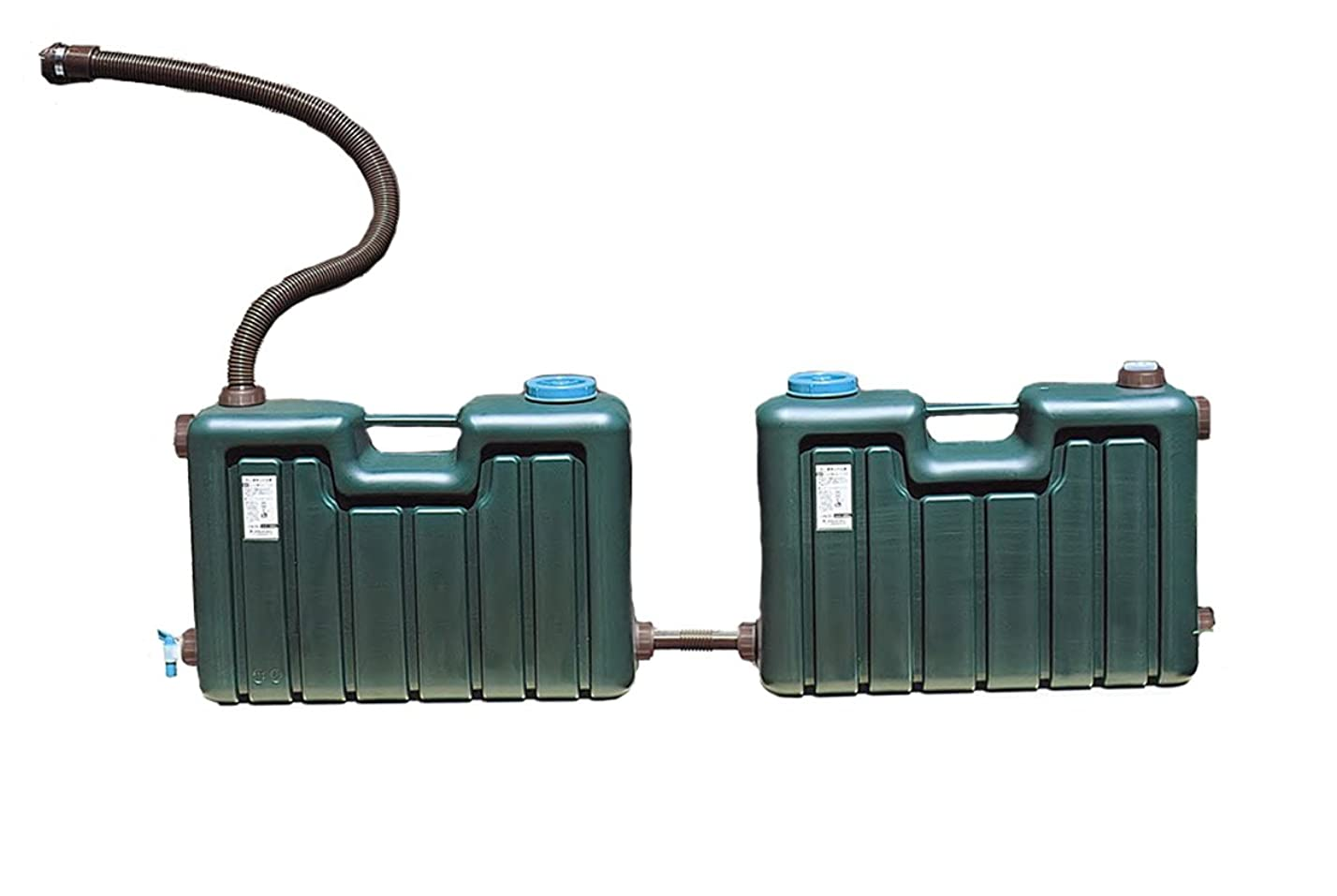 処理ハウスチャーミングミツギロン 屋外用貯水用品 節約 雨水タンク 100Lセット(50L×2) EG-26 ダークグリーン