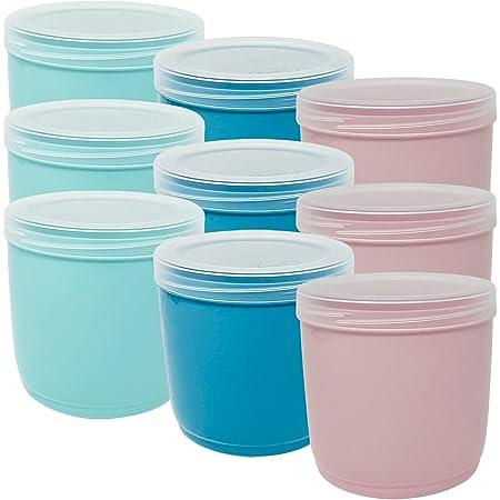 Codil Lot de boîtes en plastique pour aliments, couvercles ronds réutilisables pour aliments sans BPA, couvercle à fermeture à vis, adapté au lave-vaisselle et au congélateur (rose vert et bleu, 9 x 1 L)