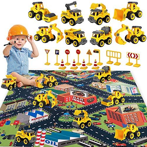 HapeeFun-8 en 1vehículos de construcción de jugue, Montar