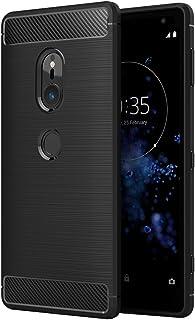 Simpeak Sony Xperia XZ2 対応 ケース SO-03K/SOV37 対応 TPU 炭素繊維保護カバー 防指紋 手触り良い一体型 脱装簡単スマホバンパー ブラック