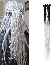 Extensiones de cabello Dreadlock para trenzas largas Trenzas de extensión Dread Fibras para el cabello Trenza Pelo sintético 60 cm para mujeres Hombres, paquete de 5, negro/gris plateado