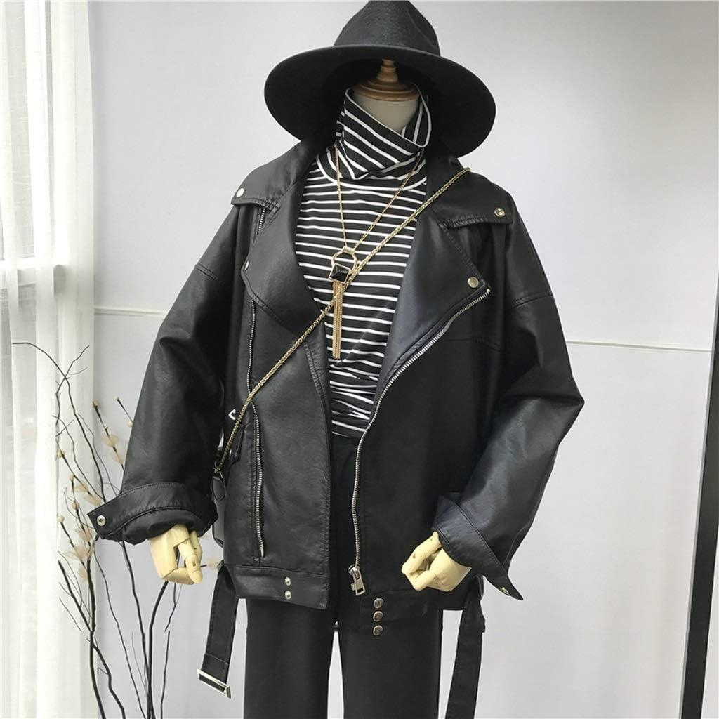 GPPZM Women Loose Motorcycle Faux Leather Jackets Ladies Long Sleeve Autumn Winter Biker Streetwear Coats (Size : XXL Code)