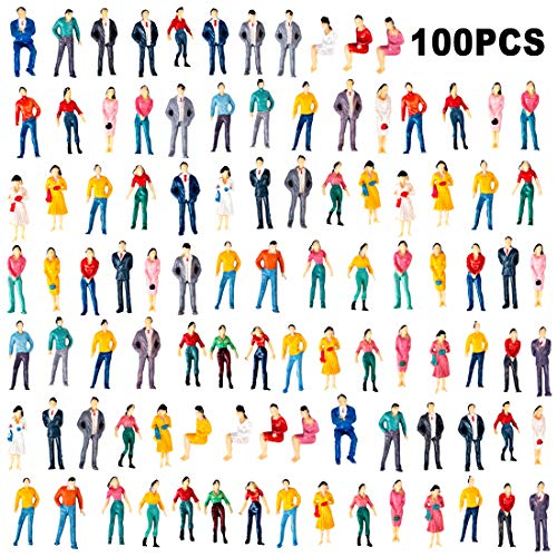 Yamix Model Train Figures, 100Pcs 1:50 Scale Painted Model Train People Figures O Scale Sitting and Standing People for Miniature Scenes Train Railway Sand Table