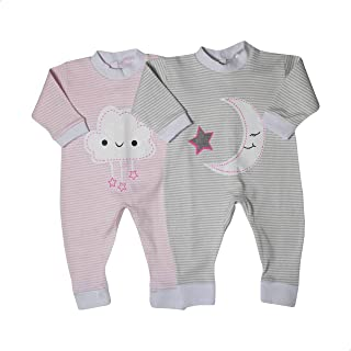 Papillon Long Sleeves Cloud and Crescent Print Striped Bodysuit Set for Girls - 2 Pieces