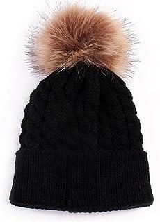 Bullidea Kids Winter Hats Pom Poms Cap Knitted Hemming Skullies Beanies Hat for Baby Girls