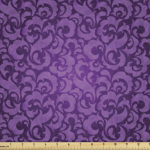 Lunarable Violet Fabric by The Yard, Vintage Inspired Ornamental Antique Motifs Baroque Leaf Silhouettes Floral, Decorative Fabric for Upholstery and Home Accents, 1 Yard, Purple
