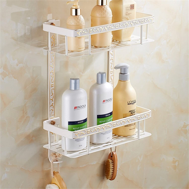Cqq Shelf European Style White Plus gold Shelf Wall Hanging Bathroom gold Glass Dressing Table Bathroom Accessories (Size   31.5  41.5cm)