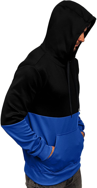 Mens Hoodies Fashion Athletic Hoodies Colorblock Sport Sweatshirt Winter Long Sleeve Pullover Drawstring Tops