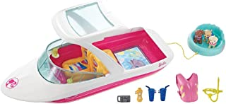 Barbie Dolphin Magic Ocean View Boat Playset - Take Barbie Doll and Her Friends for a Water Ride - Puppies Can Tube Behind - Scuba Snorkel and Life Vest Included - Dolls Sold Separately