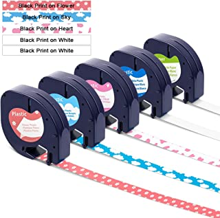 Colorty Replace DYMO LetraTag Refills 91330, 91331, 91333FW, 91338CB, 91331HB Black on Special Pattern Label Tape Work with DYMO LetraTag Label Maker LT-100H LT-100T QX50, 1/2 Inch x 13 Feet 12mm x 4m