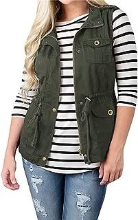 Womens Lightweight Sleeveless Military Anorak Drawstring Jacket Vest Cargo Utility Safari Vest