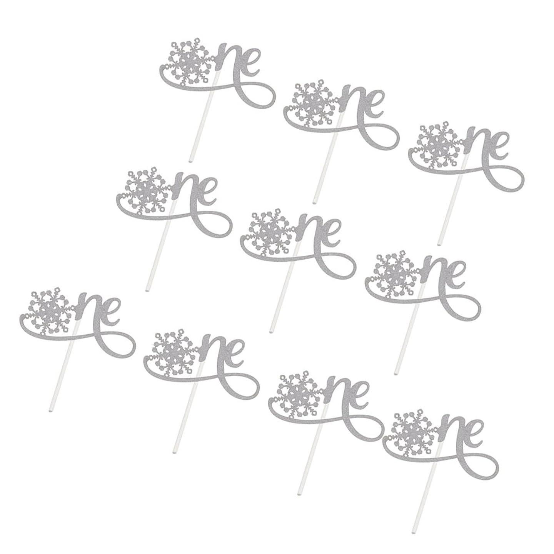 ニックネーム時刻表すべきSONONIA 10個入り スノーフレークデザイン ケーキトッパー 赤ちゃん 第1回誕生日 クリスマス フードピック 全2色 - ゴールド