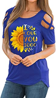 "Mysky Summer Women Casual I Love You 3000"" Sunflower Print Cross Cold Shoulder Short Sleeve T-Shirt Tops Blouses"