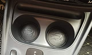 TRUE LINE Automotive Round PU Leather Cup Holder Insert Interior Car Tray Pad Coaster (Black)