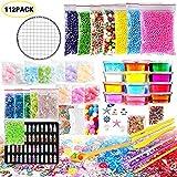112 Pack DIY Slime Kit Schleim Selber Machen, Kinder Spielzeug Dazu Gehören Schaumkugeln, Goldfischglas, Seesterne, Muscheln, Badeperlen Und Kristallschlamm